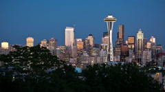 Seattle Skyline Night, time-lapse, Seattle Space Needle - stock footage