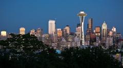 Seattle Skyline Night, time-lapse, Seattle Space Needle Stock Footage