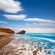 Almeria Playa del Monsul beach at Cabo de Gata - stock photo