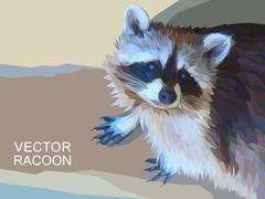 Vector racoon made of polygons. Eps 10. Stock Illustration