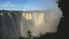 Victoria Falls Zimbabwe Africa Waterfall rainbow Zambezi River - stock footage