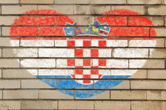 Stock Illustration of heart shape flag of Croatia on brick wall