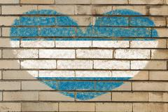 Stock Illustration of heart shape flag of el salvador on brick wall