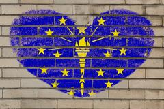 Stock Illustration of heart shape flag of indiana on brick wall