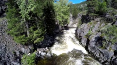 Kettle River, aerial view, reverse flight over rapids - stock footage