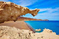 Almeria Cabo de Gata Playa del Arco arch beach Stock Photos