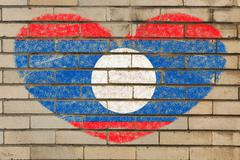 Stock Illustration of heart shape flag of laos on brick wall