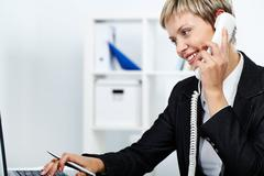 Answering a call - stock photo