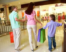 Family after shopping Stock Photos