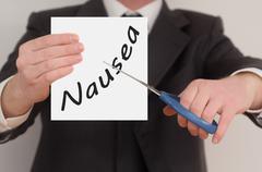 Nausea, determined man healing bad emotions - stock photo