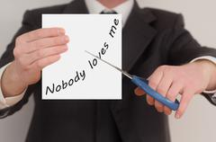 Nobody loves me, determined man healing bad emotions Stock Photos