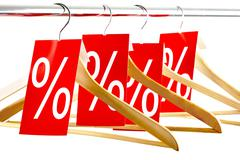 Hangers with tags - stock photo