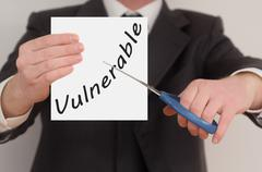 Vulnerable, determined man healing bad emotions - stock photo