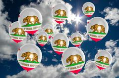 Many balloons with california flag on sky Stock Illustration