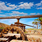 Almeria in Cabo de Gata Rodalquilar waterwheel Stock Photos