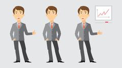 Three activities of businessman Stock Illustration