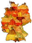 Saarland and other german provinces(states) - stock illustration