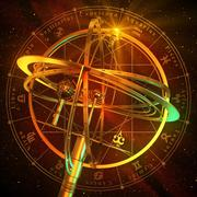 Armillary Sphere With Zodiac Symbols Over Red Background - stock illustration