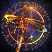 Armillary Sphere With Zodiac Symbols Over Blue Background Stock Illustration
