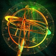 Armillary Sphere With Zodiac Symbols Over Green Background Stock Illustration