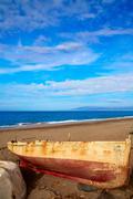 Almeria Cabo de Gata beached boats in the beach Stock Photos