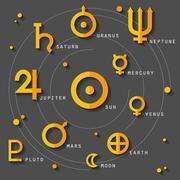 Astrology and zodiac symbols - stock illustration