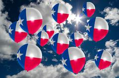 Many balloons with texas flag on sky Stock Illustration