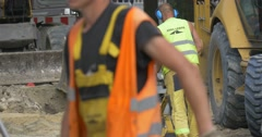 City Day Opole Worker With Rammer Excavator Digs Trench Labourers Are Busy Stock Footage