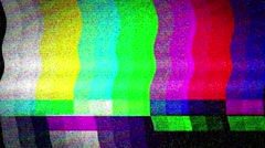 Bad TV signal on the TV screen. - stock footage