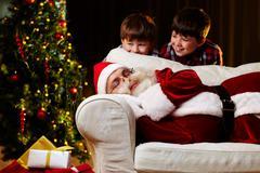 Finding out Santa Stock Photos