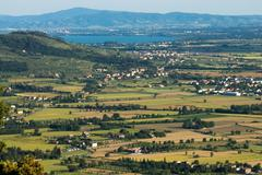 View of the Val di Chiana in Tuscany - stock photo