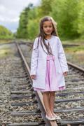 standing on a railway - stock photo