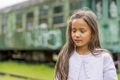 thai girl with train carriage - stock photo