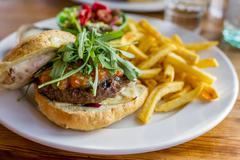 Tasty fresh hamburger with salade and french fries Stock Photos
