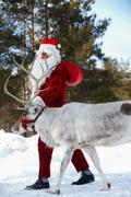 Santa with his reindeer Stock Photos