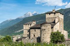 medioeval castle sarriod de la tour in italy near aosta - stock photo