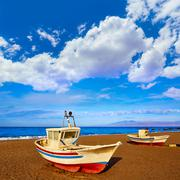 Almeria Cabo de Gata San Miguel beach boats - stock photo