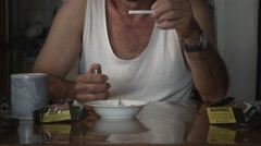 Lighting and smoking a cigarette adult male with drug tobacco addiction Stock Footage