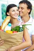 Amorous shoppers - stock photo