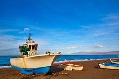 Almeria Cabo de Gata San Miguel beach boats Stock Photos