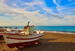 Almeria Cabo de Gata San Miguel beach boats - stock photo