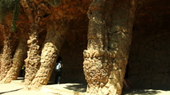 The Park Guell aka Parc Guell designed by Catalan architect Antoni Gaudi - stock footage