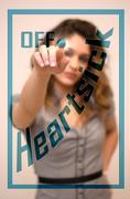 Woman switching off Heartsick on digital interace Stock Photos
