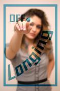 woman switching off Longing on digital interace - stock photo