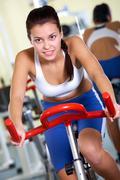Training on sport equipment - stock photo