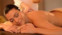 Woman Having A Back Oil Massage Stock Footage