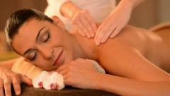 Young Woman Receiving Back Massage At Spa Stock Footage