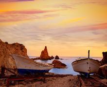 Almeria Cabo de Gata las Sirenas sunsets in spain Stock Photos
