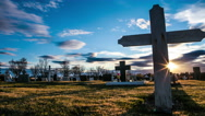 Stock Video Footage of Cemetery cross sliding time lapse, blue sky sunset dark Halloween horror 4k