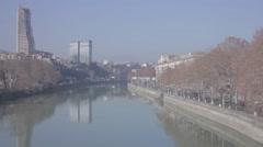 Tbilisi. Panorama from the bridge over the Kura Stock Footage